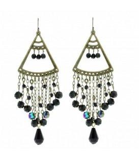 Mooie zwarte oorbellen met sliertjes en glaskralen