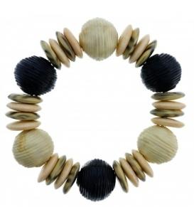 Beige creme armband met platte en ronde kralen