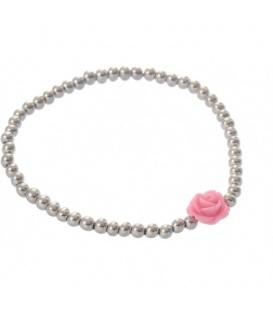 Zilverkleurige armband met een roze roosje