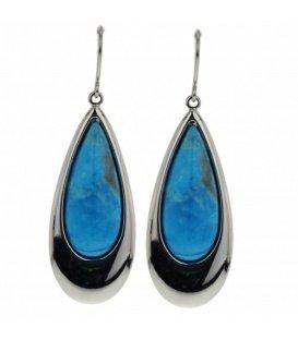 Zilverkleurige druppel oorbellen met blauwe natuursteen inleg