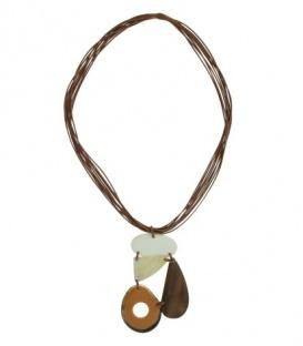 Mooie lange halsketting met 3 elementen als hanger
