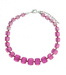 Fuchia roze korte halsketting met kralen