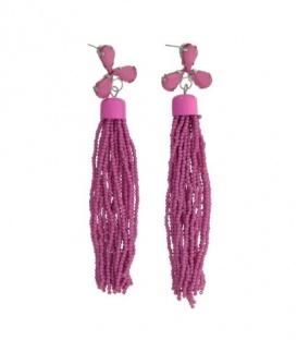 Fuchia roze oorbellen met sliertjes en kralen