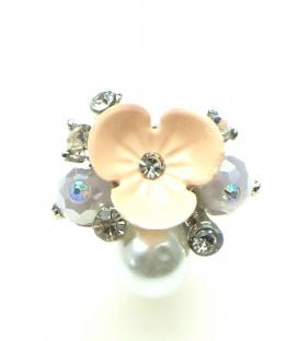 Mooie roze bloem oorbel clip met parels
