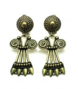 Mooie bronskleurige langwerpige oorclips