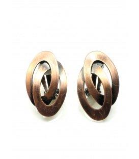 Koperkleurige metalen ovale oorclips
